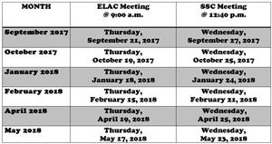 ELAC and SSC Dates