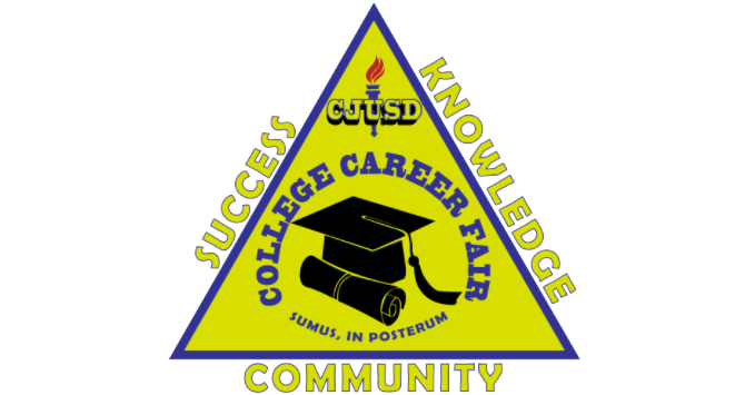 Promotional image for CJUSD College and Career Fair 2019. Image says Success, Knowledge, & Community