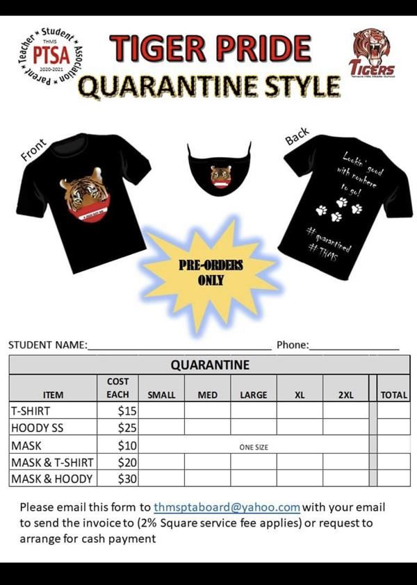 PTSA Tiger Quarantine Shirt Order Form